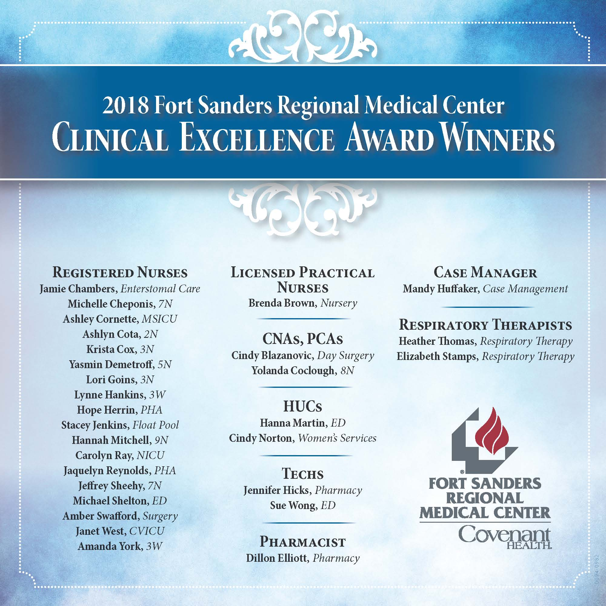 Fort Sanders Regional Medical Center announces the 2018 recipients of the hospital's annual Clinical Excellence in Nursing Awards.
