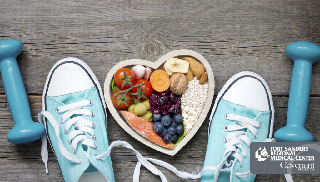 Weights, tennis shoes and healthy foods.
