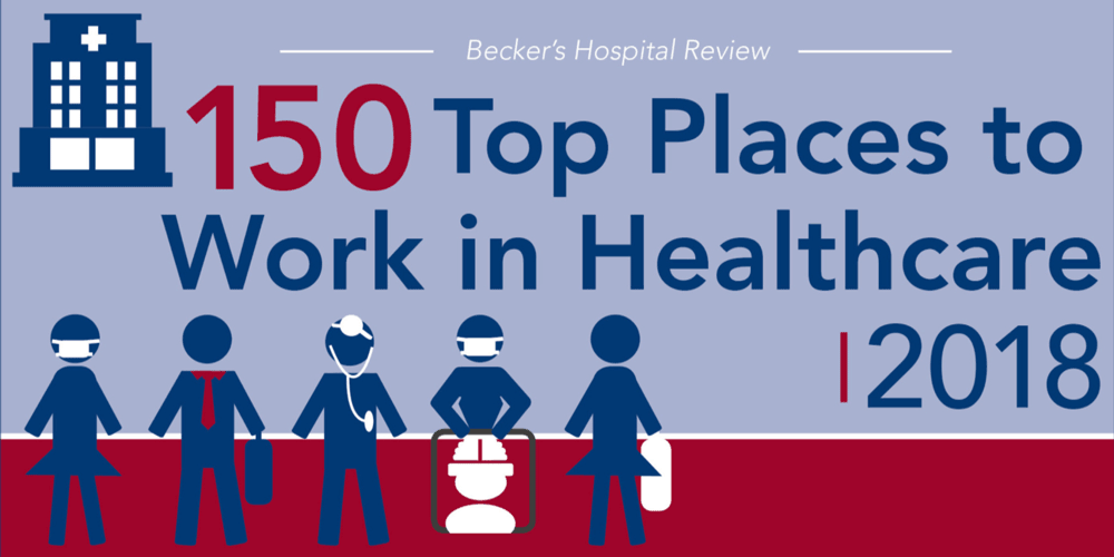 "Covenant Health has been named to the Becker's Healthcare 2018 list of ""150 Top Places to Work in Healthcare."""