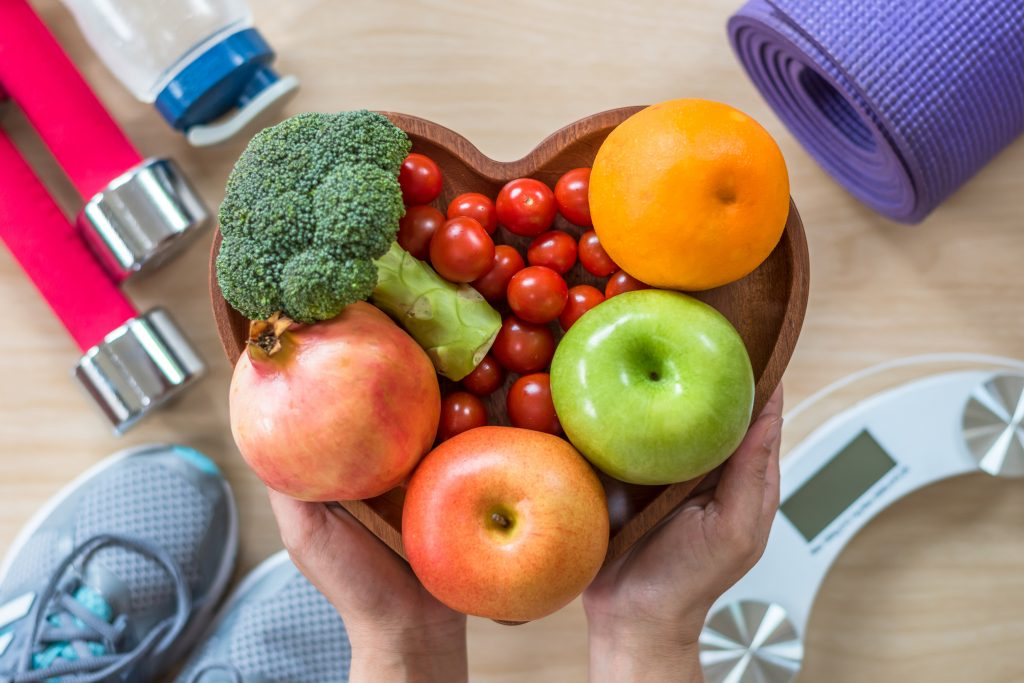 Fruit and exercise equiment, healthy heart