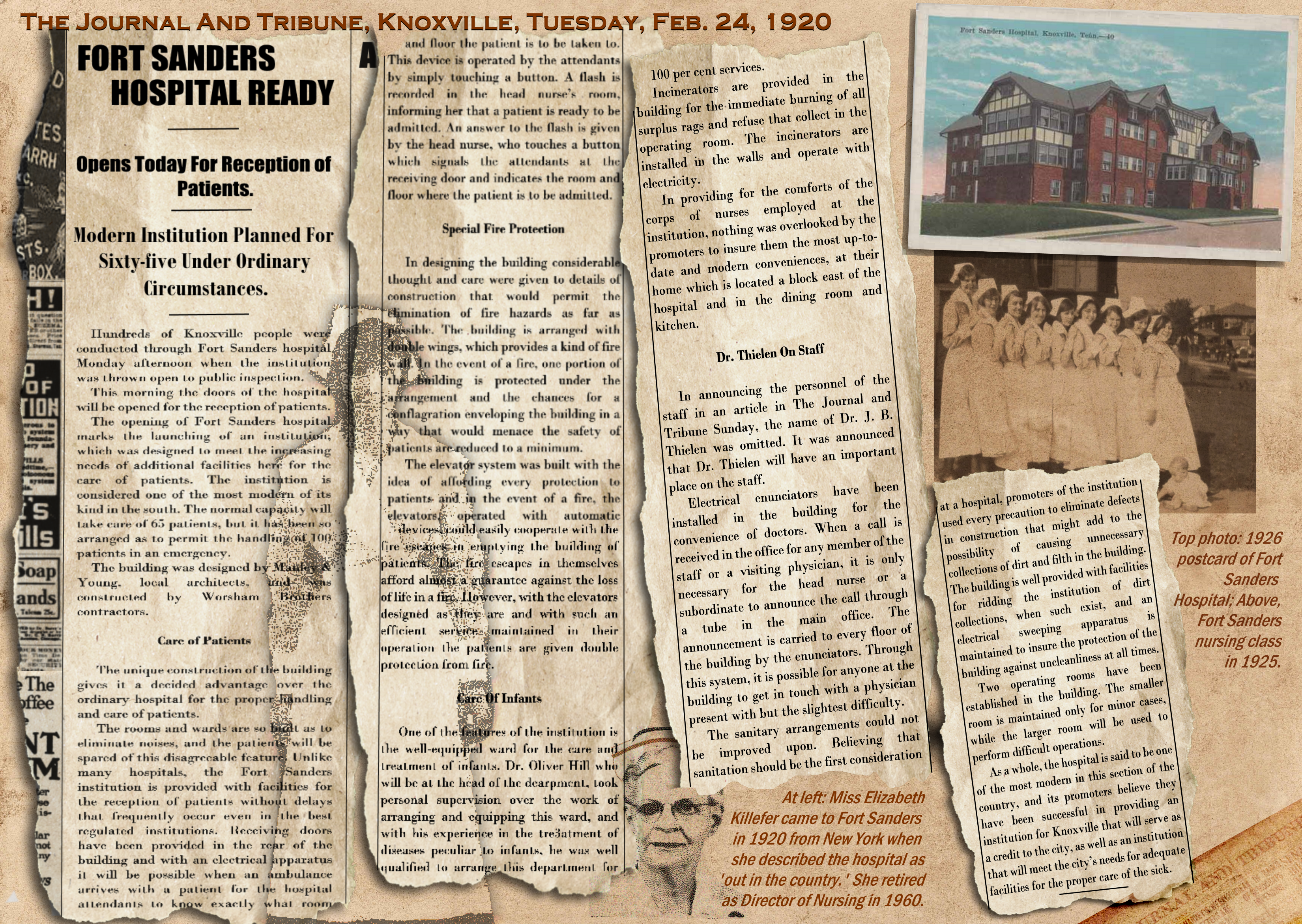 collage of newspaper clippings from the 1920s about Fort Sanders