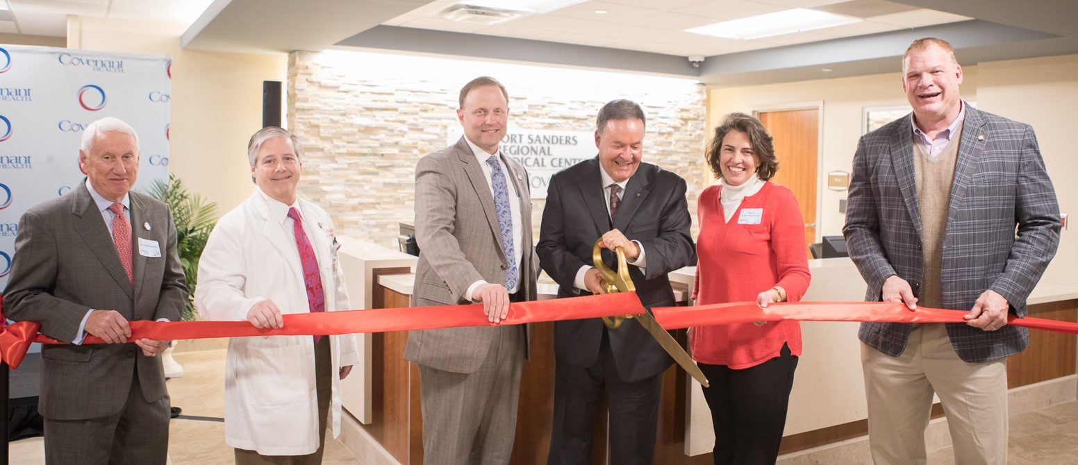 Covenant Health leaders and Knoxville's City and County mayors help cut the ribbon on Fort Sanders Regional Medical Center's newly renovated emergency department.