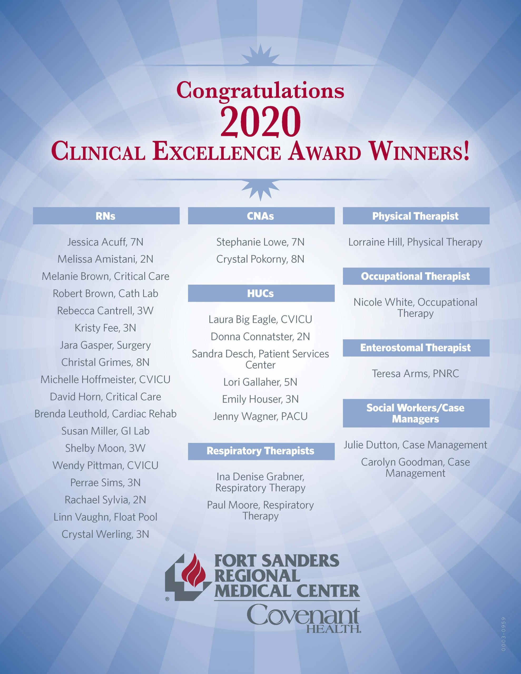 clinical excellence award winners 2020