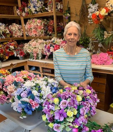 Jane Gambrell with her flowers