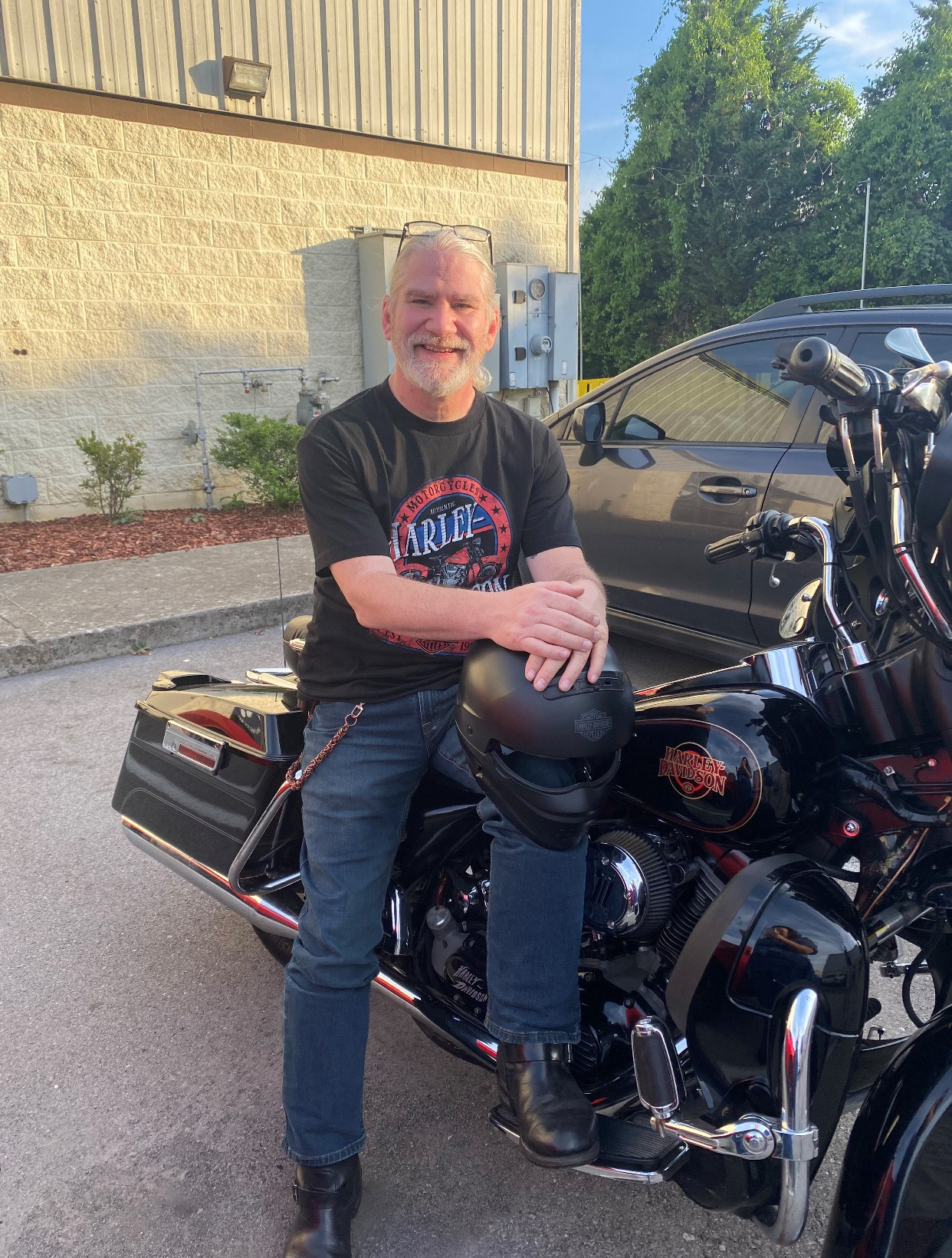 Michael Ensor on his motorcycle